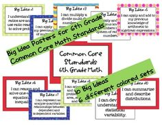 {FREE} 6th Grade....This free download contains the 10 Big Ideas written in kid language for the Common Core State Standards.  There are 5 different colored sets that ...
