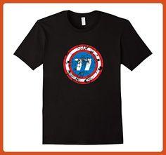 Mens 40th Birthday, Distressed Look, 77 Superhero Shield T-shirt 2XL Black - Superheroes shirts (*Partner-Link)