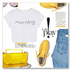 """Friday Morning-Lets Play!"" by christinacastro830 ❤ liked on Polyvore featuring AG Adriano Goldschmied, Moschino, WithChic and Fendi"