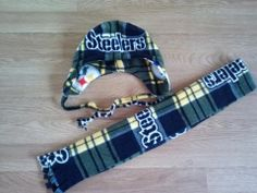 Steelers fleece hat and scarf. Kids size. Can also make adult size.   www.facebook.com/CraftedSewUnique Christmas Gift Themes, Burp Cloths, Facebook, Sewing, Hats, Shopping, Dressmaking, Couture, Hat
