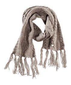 DreiMaster Brown Fringe Wool-Blend Scarf//