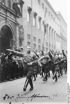 """Germany. Hitlerjugend Jungsturm """"Hitler"""" (Hitler Youth, Youth Assault Squad 'Hitler') parading November 9, 1933."""