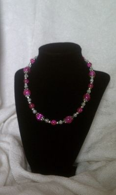 Beaded Necklace: Pink & white with silver accents