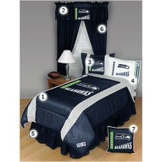 Make it easy to set up your Seahawks bedroom with this 7 piece set. Comes with comforter, window valance, pillow shams, sheets, bedskirt, drapes, and a pillow. $289.95