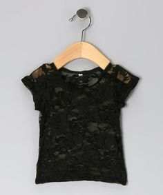 Take a look at this Black Lace Top - Infant, Toddler & Girls by Diva Daze on #zulily today!