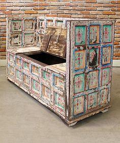Cream Antique Storage Bench by Vintage Addiction #zulily #zulilyfinds