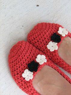 Pantofole all'uncinetto fai da te - Pantofole rosse