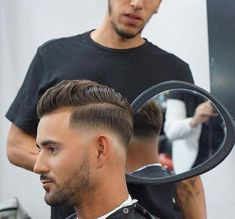 The drop fade haircut is a modern version of the popular classic fade. Just like the name implies, the drop fade haircut is cut low behind the ears, Trendy Haircuts, Popular Haircuts, Hairstyles Haircuts, Haircuts For Men, Cool Hairstyles, Mens Hipster Haircuts, Hipster Hairstyles, Faded Beard Styles, Hair And Beard Styles