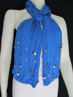 Women Soft Fabric Fashion Blue Scarf Long Necklace Silver Metal Skulls Stud