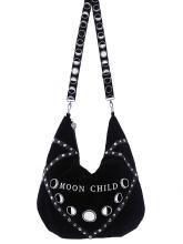 Sac noir en velours Moon Child Sack broderie phases lunaire