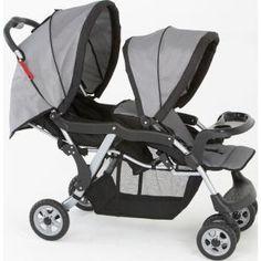 Carrinho de Bebê Galzerano Twin Gêmeos Cinza, pratico, seguro e confortável.