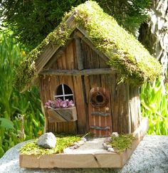 We are having lots of requests here at bowenbirdhouses for Fairy houses this spring. Apparently it is good luck to have a fairy house in your garden. All fairy houses are one of a kind, and each come with a fairy and a small bottle of fairy dust. Mini Fairy Garden, Fairy Garden Houses, Gnome Garden, Fairy Gardening, Indoor Gardening, Garden Terrarium, Succulent Planters, Hanging Planters, Succulents Garden
