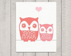 Nursery Owl Art Print Mom and Baby Owl