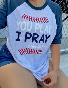 Baseball sister shirt|| you play I pray|| Shirt made by: Queen B's whatnots & tees✨ - maroon button down shirt, men's casual shirts, mens light blue button down shirt *ad Cricut, Punch Art