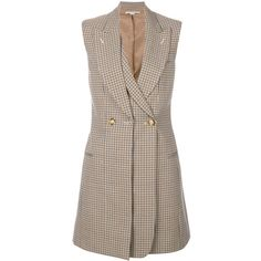 Stella McCartney double-breasted gilet ($1,228) ❤ liked on Polyvore featuring outerwear, vests, waist cincher vest, checkered vest, sleeveless waistcoat, stella mccartney vest and cinch vest