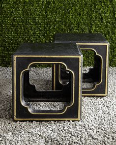 black & gold outdoor accent table