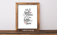 All of God's grace in one little face Print, Nursery Child Wall Decor, Quote Sayings, Religious Art, Inspirational, Baby Nursery Wall Art by instantcreativity on Etsy