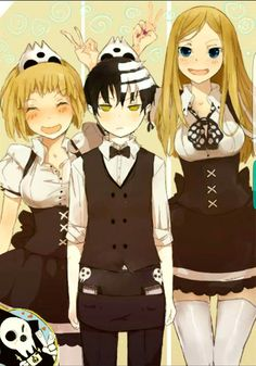 Soul Eater anime and manga. Patty, Death the Kid, and Liz working at Death Bucks! I Love Anime, Awesome Anime, Me Me Me Anime, Anime Soul, Geeks, Fairy Tail, Soul Eater Death, Soul Eater Patty, Manga Anime
