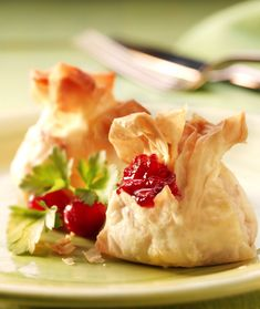 Party food recipe for cranberry and cheese parcels
