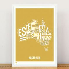 AUSTRALIA Spanning from coast to coast, across our States and Territories, Burbia now have the nation covered with our AUSTRALIA Type Print Poster... Just launched in 5 colours! See them all, in store now. http://burbia.com.au/product/australia-type-print/