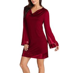 c2eb9a59d6 Womens Casual Solid Sequined Stitching V-Neck Long Sleeve Mini Dress  Cocktail Party Light Dresses