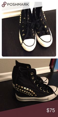 e42fa892cfa0 Black rhinestone converse wedges Cute converse all star wedges Converse  Shoes Wedges