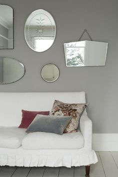 Vintage mirrors against Dulux Potters Clay 2 in your living room
