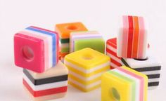 Colorful & Playful Square Striped Resin Euro Beads    S. Starting at $5 on Tophatter.com!