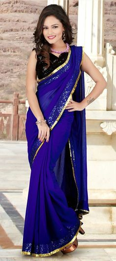 143084, Party Wear Sarees, Chiffon, Faux Georgette, Lace, Sequence, Resham, Blue Color Family