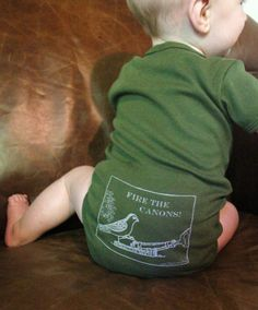 Onesie- Fire the Canons funny screen print baby onesie. $18.00, via Etsy.