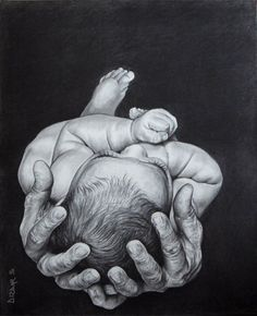 Super black and white sketch of a old man holding a child...