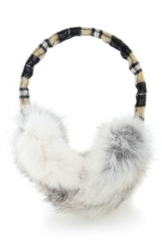 SCOTTISH Beige Rabbit Fur Women Earmuffs
