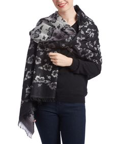 This Pretty Persuasions Black & Gray Floral Botanical Scarf by Pretty Persuasions is perfect! #zulilyfinds