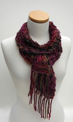 Alpaca Scarf Hand Knit Wine red/ olive/ taupe/ by ScarfRunner, $60.00