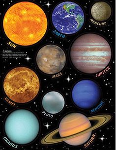 SOLAR SYSTEM wall stickers 10 big decals planets with name Earth Sun Saturn Mars in Home & Garden,Home Décor,Decals, Stickers & Vinyl Art | eBay