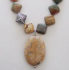 Rocky Butte jasper and Kalahari picture jasper necklace