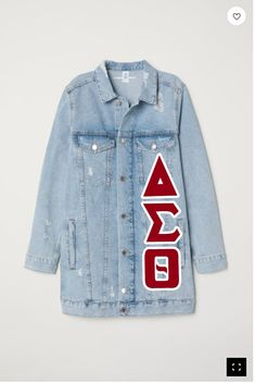 Delta Sigma Theta Long-Jean JacketYou can find Delta sigma theta and more on our website. Delta Sigma Theta Apparel, Sigma Gamma Rho, Sorority Pictures, Delta Girl, Omega Psi Phi, Pvc Fabric, Boyfriend Style, Line Jackets, Sorority Girl Style