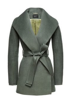 SENTALER Luxury Outerwear: Shawl Collar Wrap Coat with Ribbed Sleeves
