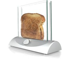 Transparent Toaster - This concept for a transparent toaster allows you to see the bread while it is toasting so you're never surprised by toast that comes out too dark. This idea is based on heating glass technology.