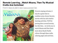 If you're staying at home, combine this favorite movie with creative learning activities! Discover Moana-related crafts, activities and coloring pages! Home Learning, Early Learning, Learning Activities, Global Awareness, Map Skills, English Activities, Music For Kids, English Lessons, South Pacific