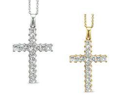 Diamond Cross Necklance with Shared Prong Set Princess Cut Diamonds