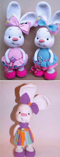 Crochet Rabbit Crochet Amigurumi Bunny In Dress Toy Free Patterns Crochet Easter, Easter Crochet Patterns, Crochet Bunny Pattern, Cute Crochet, Crochet Crafts, Knit Crochet, Crotchet, Knit Patterns, Crochet Beanie