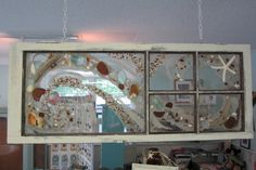 Window art - would like to try this. This one is vintage seaglass and driftwood.