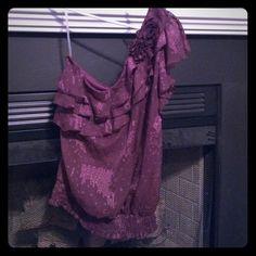 BUY 2 GET 3 FREE! Maroon dress top. NWT Ruffles and roses. HeartSoul Tops