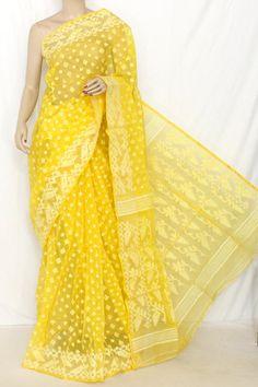Deep Yellow Handwoven Bengal Kora Tant Cotton Saree (Without Blouse) 13894