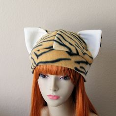 5777ea9c348 Fleece Cat Hat   GOLD TIGER PRINT Beanie Style w  by CosplaySnap