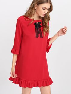 Shop Rhinestone And Bow Embellished Ruffle Trim Dress online. SheIn offers Rhinestone And Bow Embellished Ruffle Trim Dress & more to fit your fashionable needs. Couture Dresses, Fashion Dresses, Ankara Gown Styles, Half Sleeve Dresses, Designs For Dresses, Mode Hijab, Dress Patterns, Dresses Online, Beautiful Dresses
