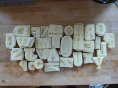 Potato letter stamps. Simply awesome.