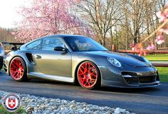I love this look! Porsche 911 997 Turbo with Red Tinted Brushed P40SC wheels by HRE
