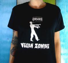 Zombie T-Shirt  Black Vegan  Womens Tunic Fashion Screenprinted Clothing  Horror Inspired Graphic. $20.00, via Etsy.